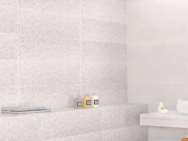 Azulejo rectangular en tonos gris claro y blanco