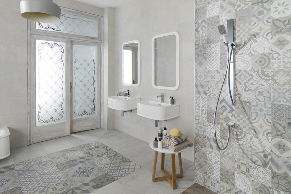 Baño con azulejo hidráulico