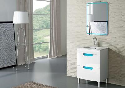 Mueble blanco y detalles en azul