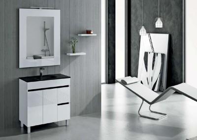 Mueble en blanco y negro