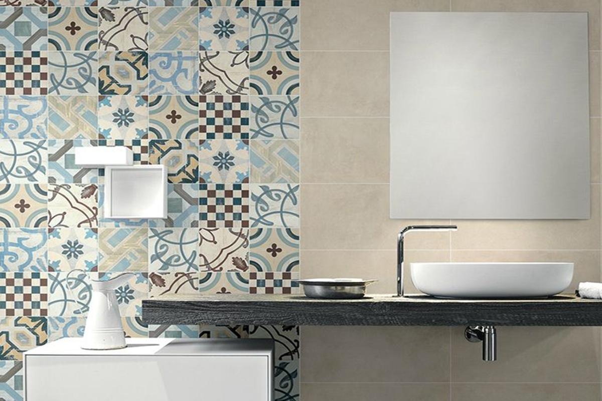 Pared con azulejo hidráulico