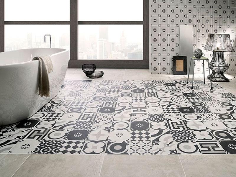 Pavimento-en-blanco,-negro-y-gris