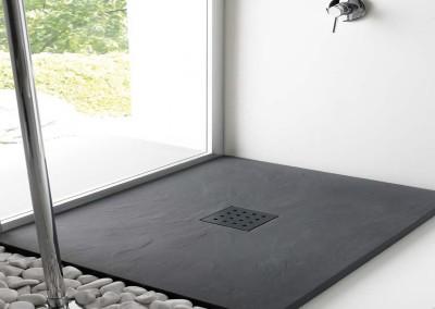 Plato de ducha textura pizarra en color negro