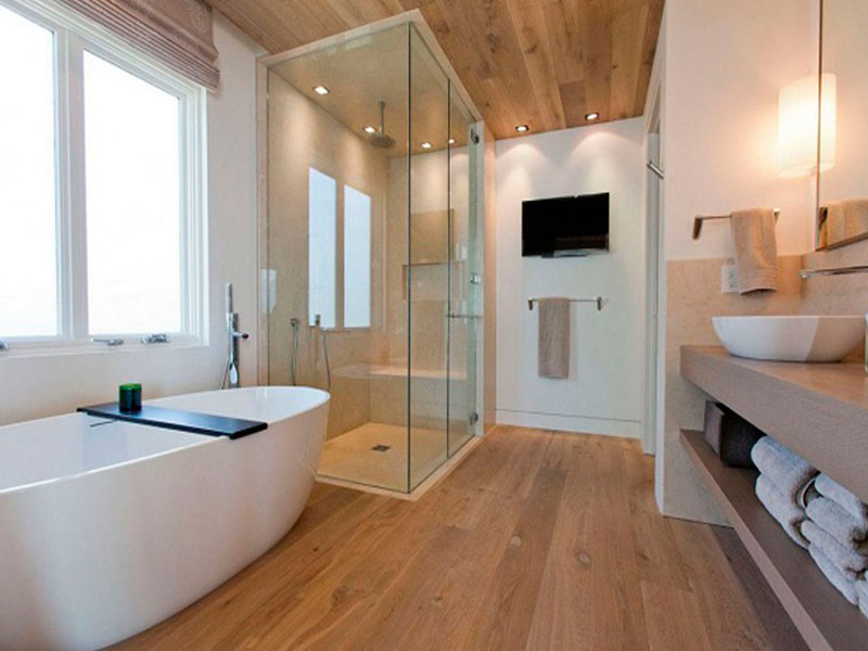 Suelo madera baño